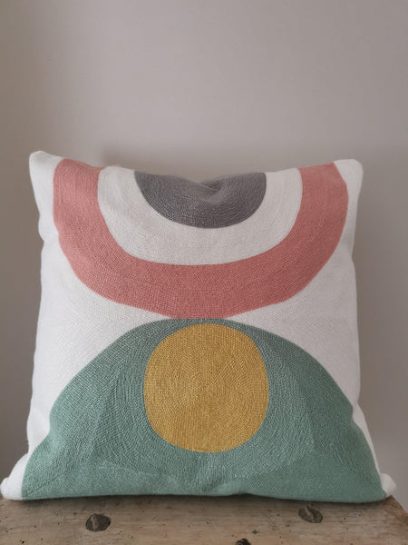 on trend colourful cushion