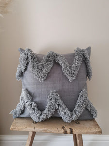 grey tufted zigzag cushion cover