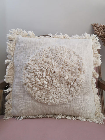 A natural on trend cream ruffle cushion cover