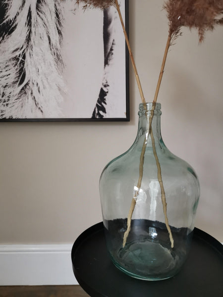Tall bottle neck recycled glass clear
