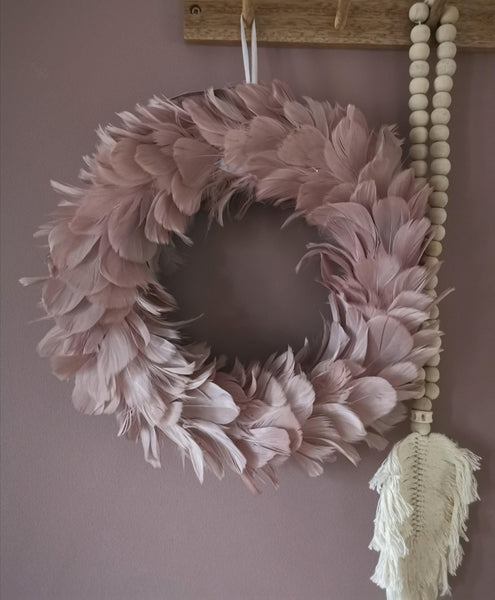 Blush pink feather wallhanging