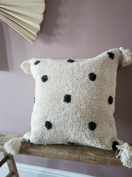 cream and black spotted cushion cover