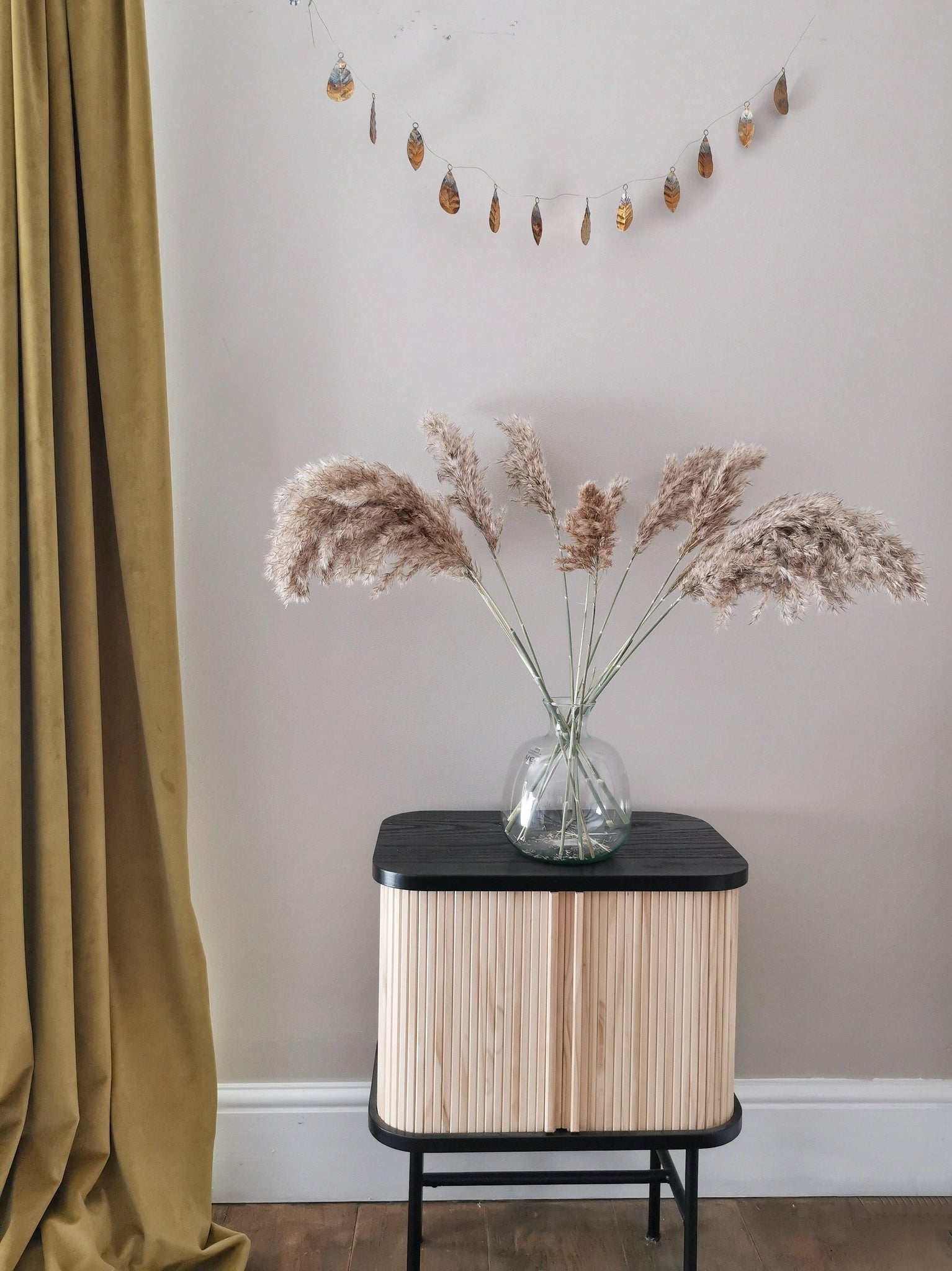 Mini pampas grass and small bottle neck vase