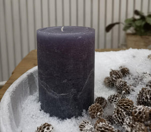 Blue/grey marble look pillar candle