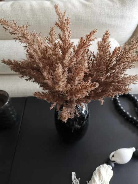 mini flocked faux pampas stems
