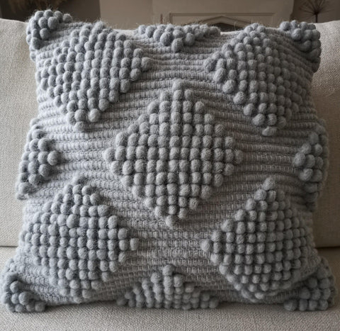 Grey wool cushion cover