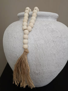 Boho natural beads with tassle..small