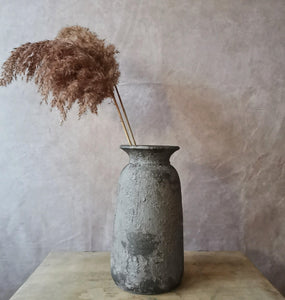 Tall Bali vase in light grey