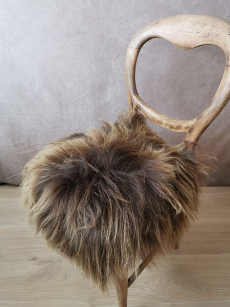 Rusty brown sheepskin seat cover