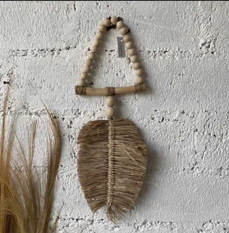 Jute leaf wallhanging - Pavot blue Interiors