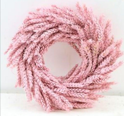 Dried pink wheat wreath