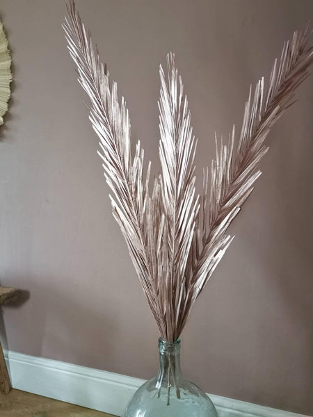 3 natural dried palm leaves dyed gold
