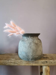 Bali light grey vintage effect stone vase