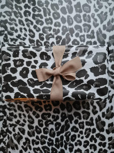 Leopard print foil gift wrap Black, white and grey