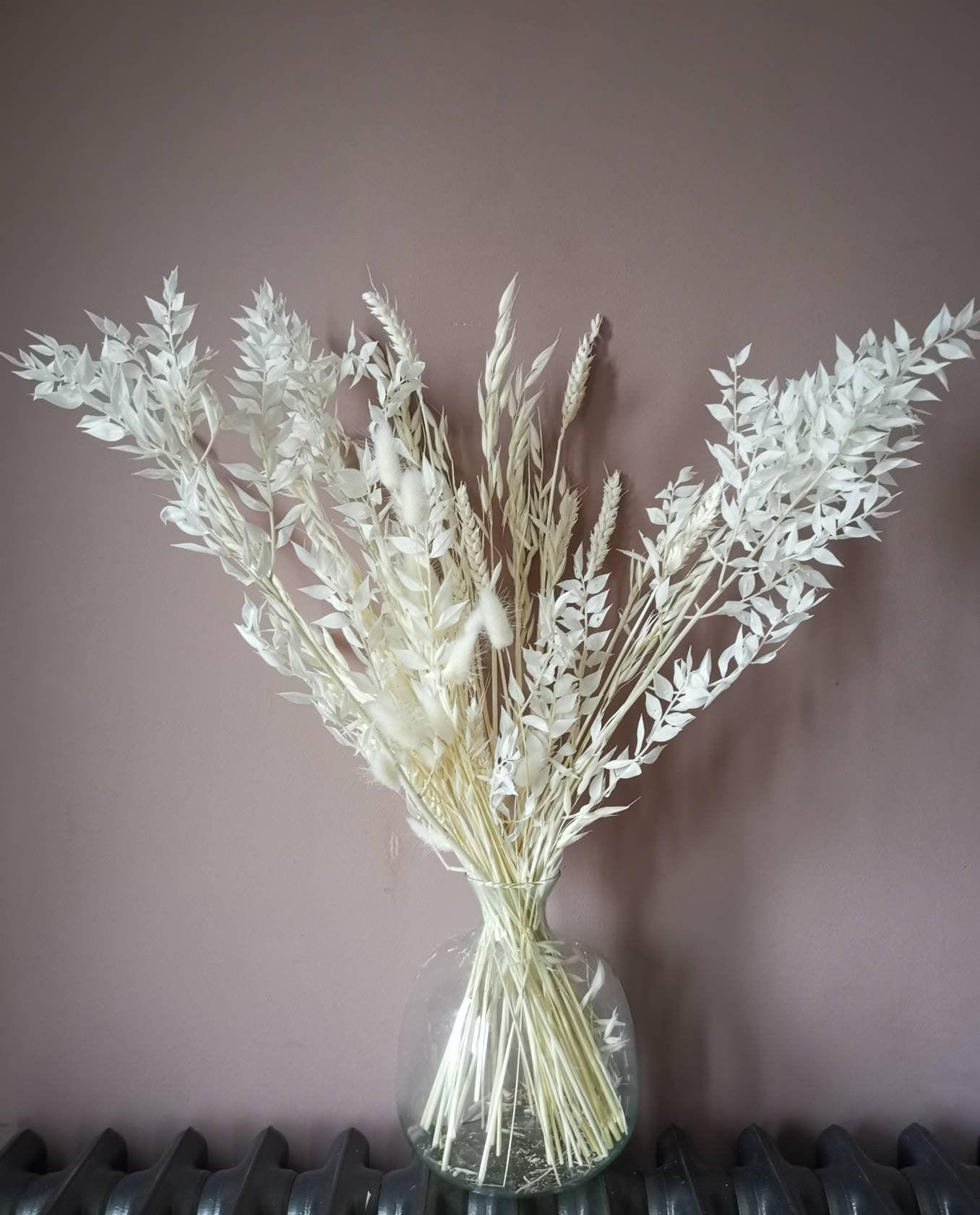 Bright white dried ruscus bouquet