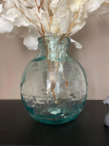 Tall recycled glass tinted vase/carafe