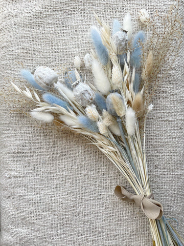 The blues, mixed small dried flower bouquet