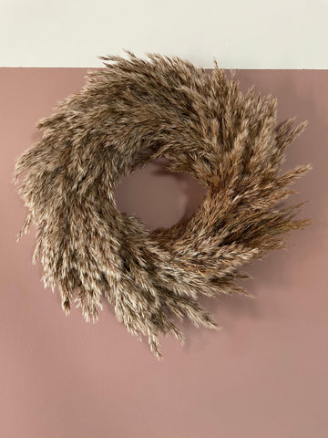Natural dried pampas grass wreath