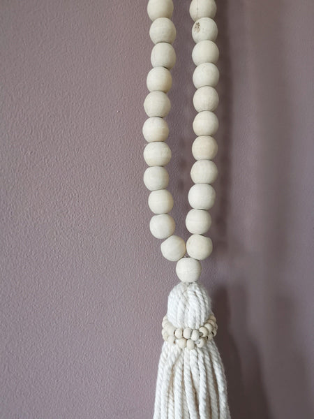 Large Boho natural beads with tassle