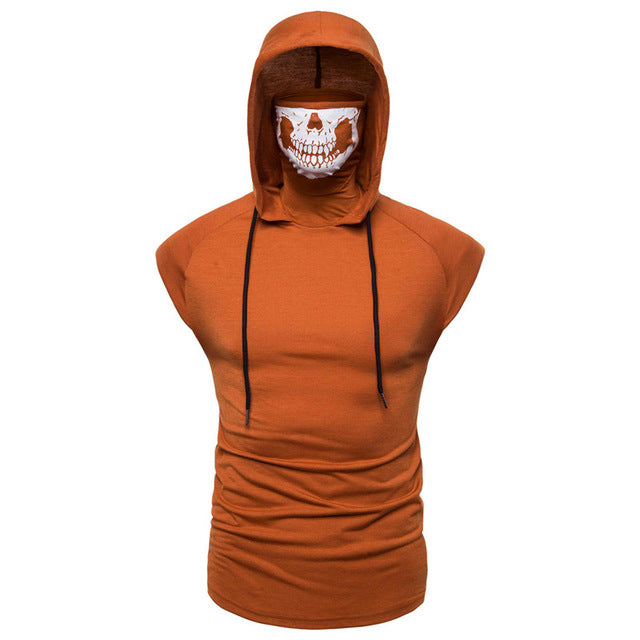 Orange / M 2 in 1 Skull Bandana Vest Hoodie - TwentyDrop