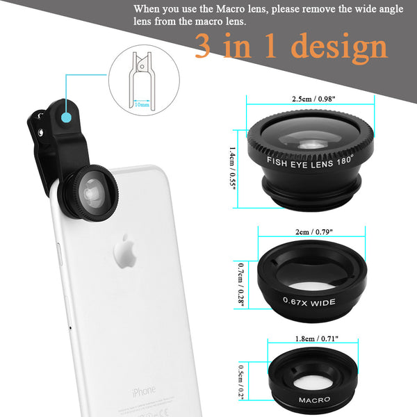 Universal 3 in 1 Clip-on Smart Phone Lens Set