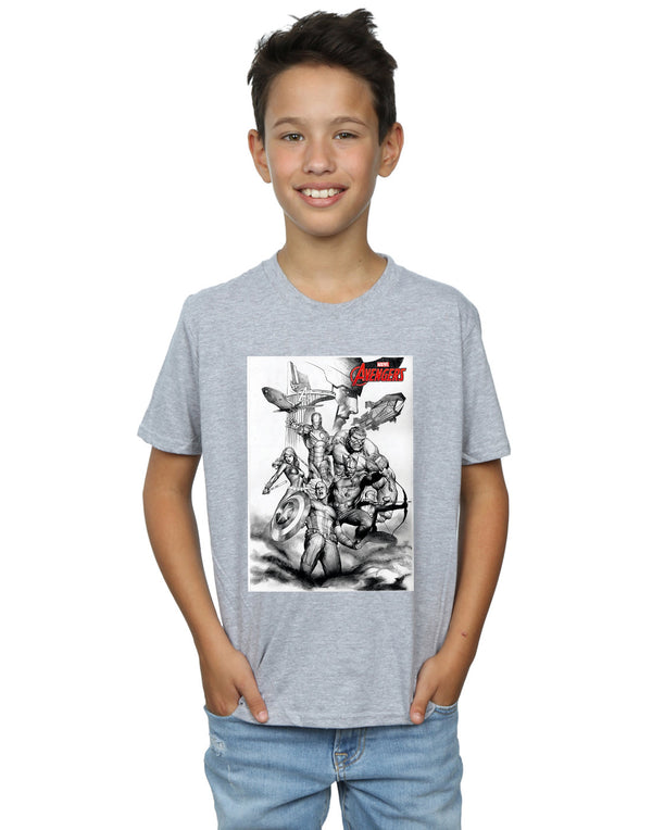 Marvel Boys Avengers Assemble Team Sketch T-Shirt - coolulu.com