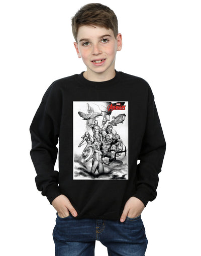 Marvel Boys Avengers Assemble Team Sketch Sweatshirt