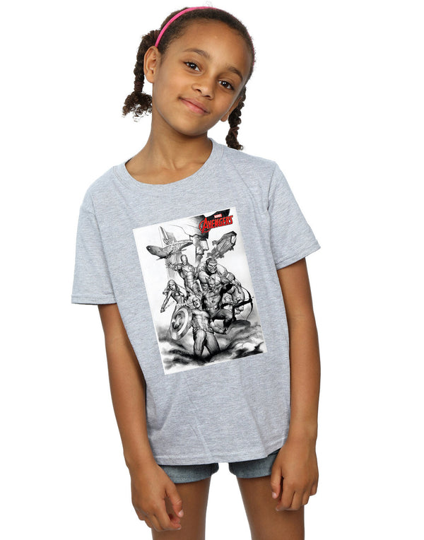 Marvel Girls Avengers Assemble Team Sketch T-Shirt - coolulu.com