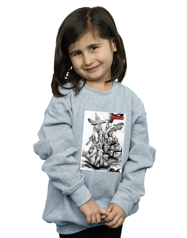 Marvel Girls Avengers Assemble Team Sketch Sweatshirt - coolulu.com