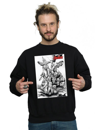 Marvel Men's Avengers Assemble Team Sketch Sweatshirt