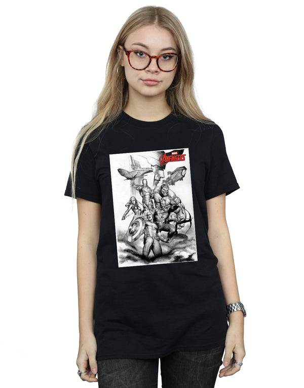 Marvel Women's Avengers Assemble Team Sketch Boyfriend Fit T-Shirt - coolulu.com