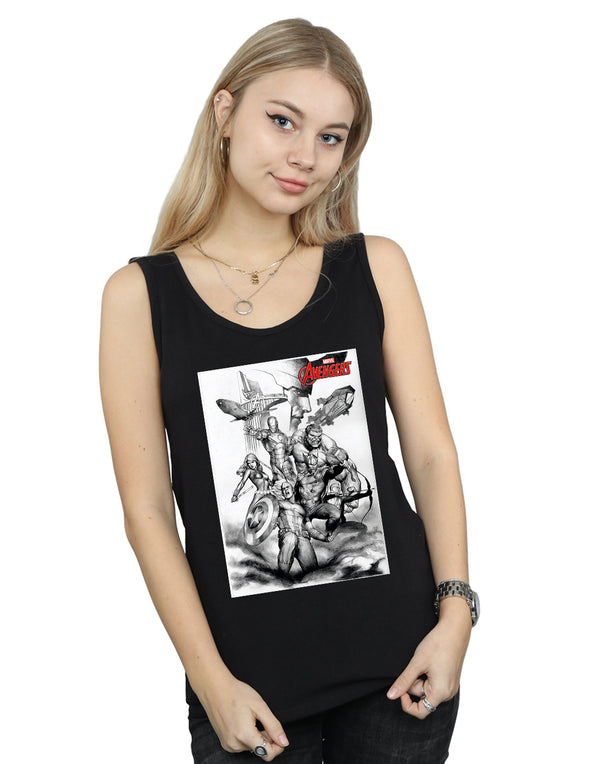 Marvel Women's Avengers Assemble Team Sketch Vest - coolulu.com