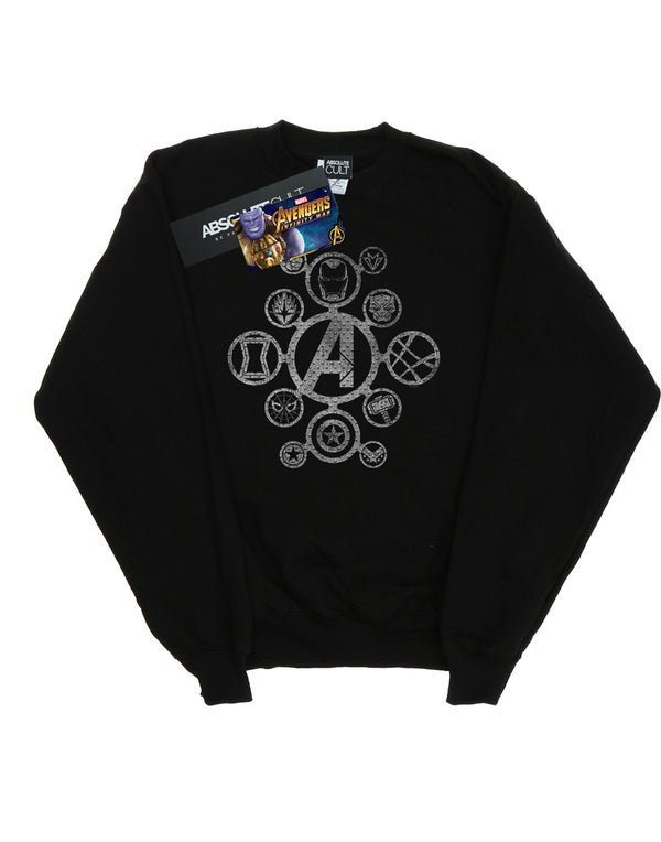 Marvel Men's Avengers Infinity War Distressed Metal Icons Sweatshirt