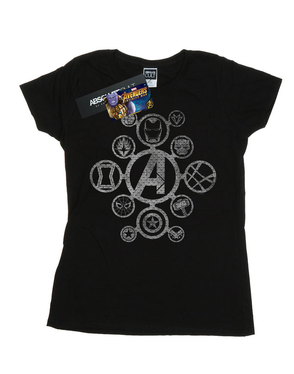 Marvel Women's Avengers Infinity War Distressed Metal Icons T-Shirt