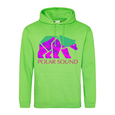 POLAR GREEN UNISEX HOODIE - POLAR SOUND BEAR FRONT