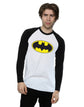 DC Comics Men's Batman Logo Long Sleeved Baseball Shirt