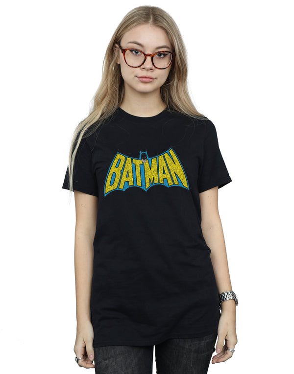 DC Comics Women's Batman Crackle Logo Boyfriend Fit T-Shirt