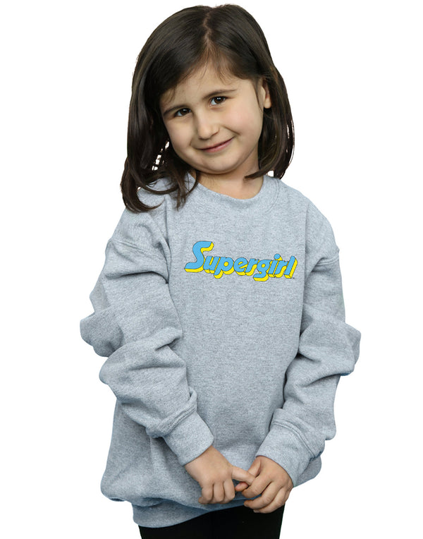 DC Comics Girls Supergirl Text Logo Sweatshirt
