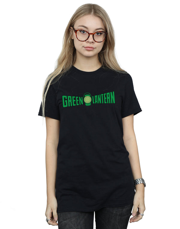 DC Comics Women's Green Lantern Text Logo Boyfriend Fit T-Shirt