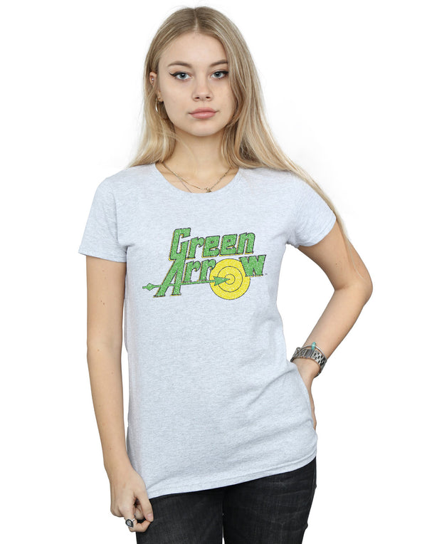 DC Comics Women's Green Arrow Crackle Logo T-Shirt