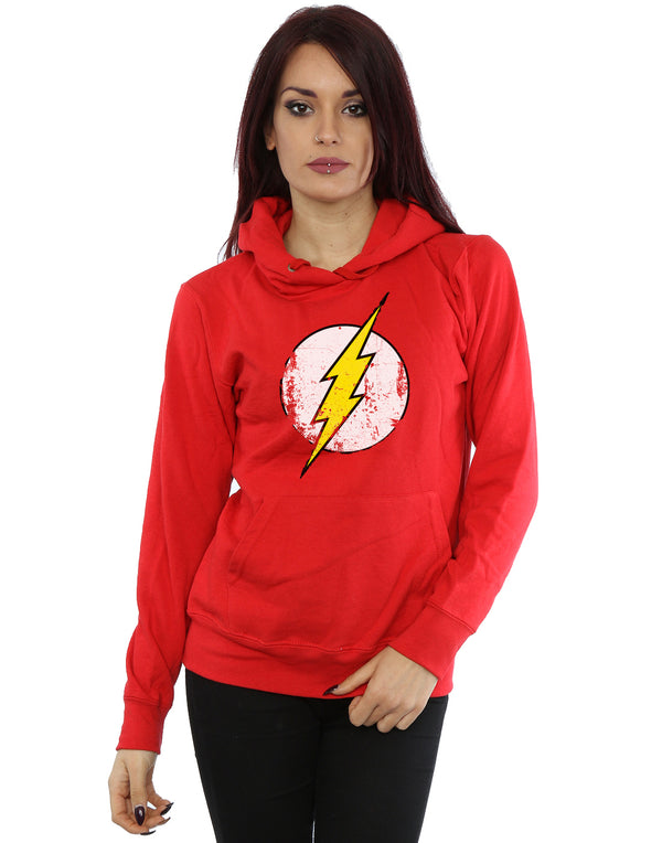 DC Comics Women's Flash Distressed Logo Hoodie