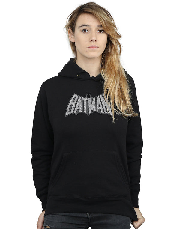 DC Comics Women's Batman Retro Crackle Logo Hoodie