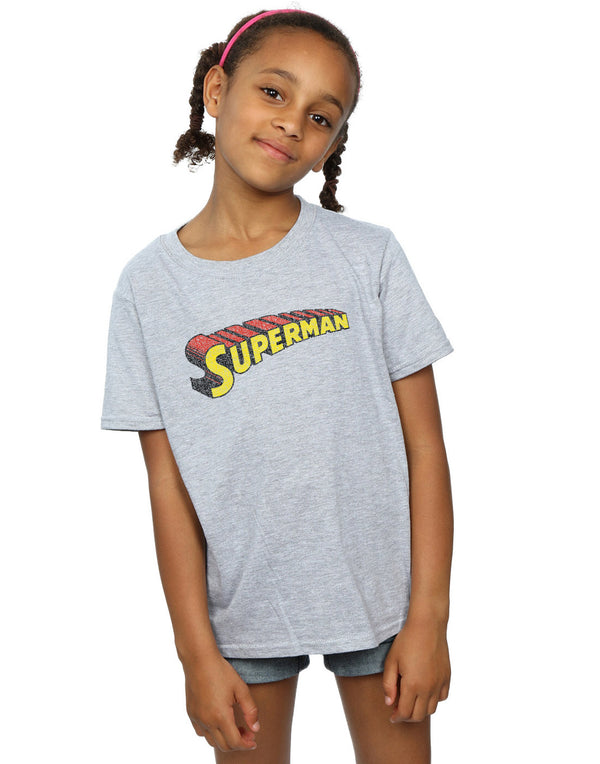 DC Comics Girls Superman Telescopic Crackle Logo T-Shirt