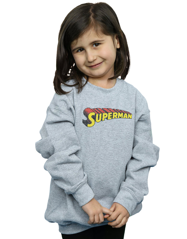 DC Comics Girls Superman Telescopic Crackle Logo Sweatshirt