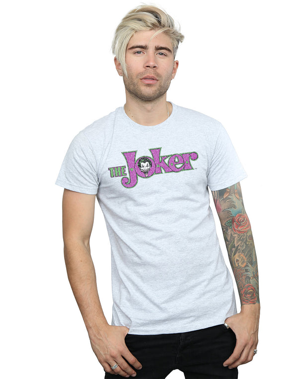 DC Comics Men's The Joker Crackle Logo T-Shirt