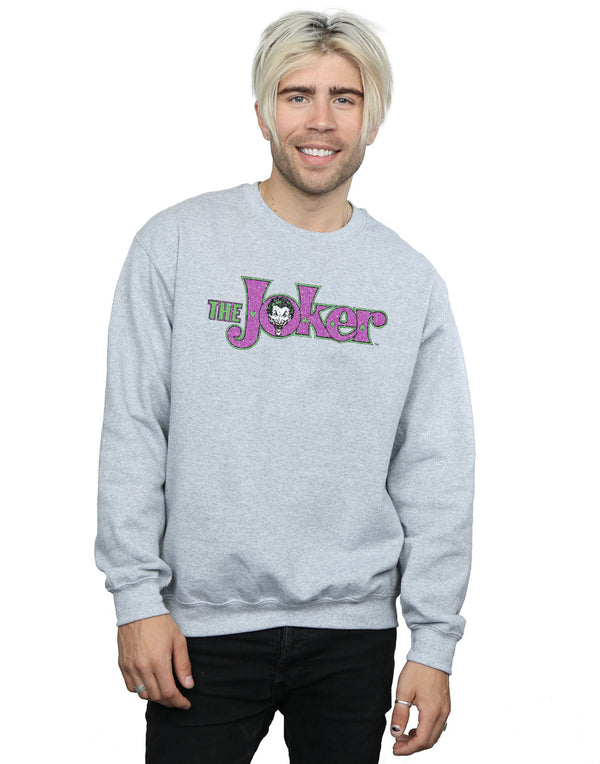 DC Comics Men's The Joker Crackle Logo Sweatshirt