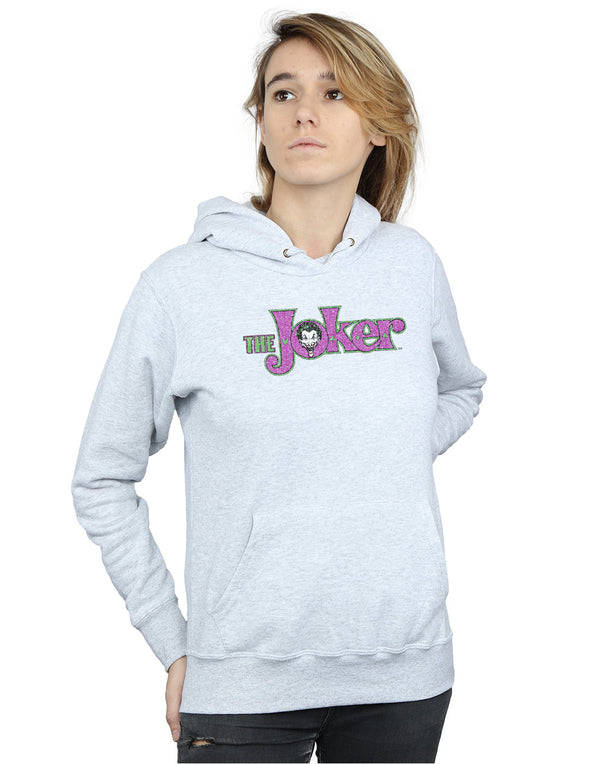 DC Comics Women's The Joker Crackle Logo Hoodie