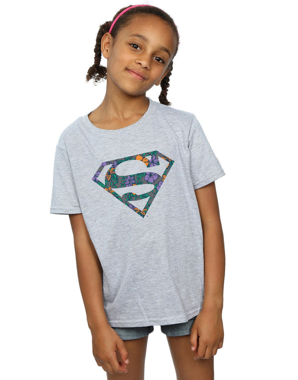 DC Comics Girls Superman Floral Logo 1 T-Shirt