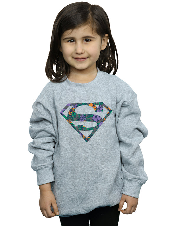 DC Comics Girls Superman Floral Logo 1 Sweatshirt
