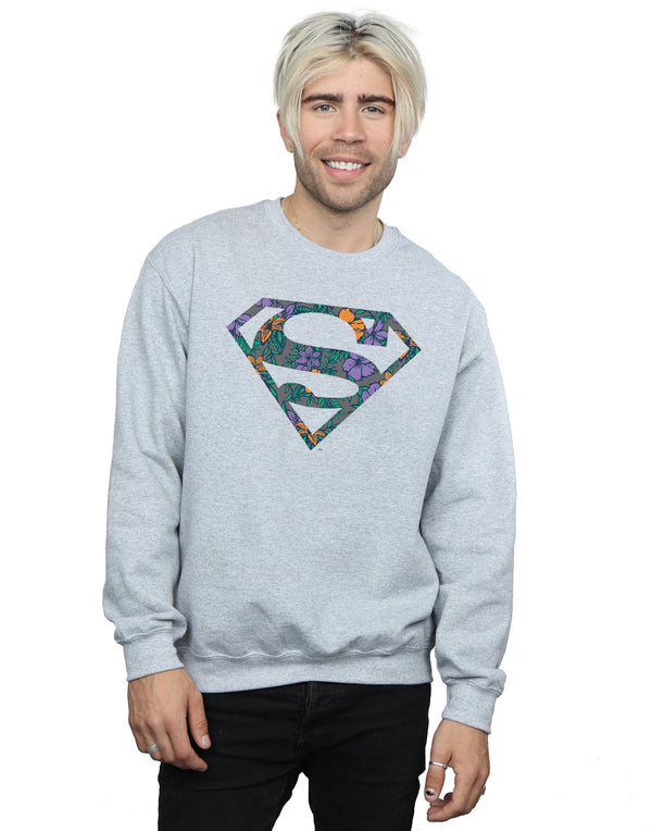 DC Comics Men's Superman Floral Logo 1 Sweatshirt